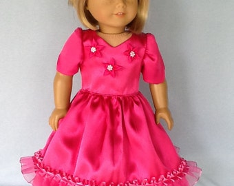 18 inch doll dress.  Fits American Girl.   Bright pink party dress.