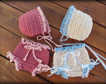 Crochet Diaper Cover Pattern, Crochet Baby Hat Pattern, Newborn Photo Prop, CROCHET PATTERN, Bloomer and Bonnet, Patterns by Deborah O'Leary