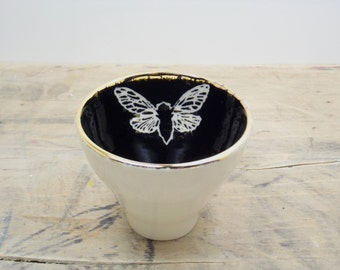 One Cicada Black, White & Gold Porcelain Tea Cup, Saki Cup, Tea Bowl-Candle Holder, Insect Art, Hostess Gift, Steampunk Gift, Goth Gift