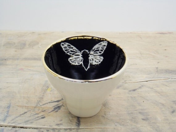 Cicada Black, White & Gold Porcelain 5oz. Small Tea Cup, Tea Bowl, Saki Cup