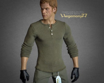 1/6th scale Dexter henley for collectible action figures and male fashion dolls