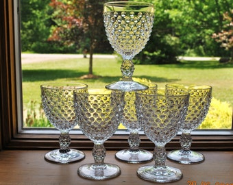 6 - Duncan miller Elegant Clear Hobnail Water Goblets