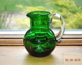 Small Hand Blown Forest Green and Clear Handled Pitcher with 4 Dimples Round the Sides