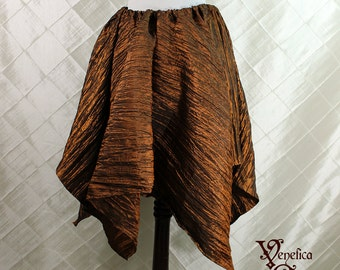 """Steampunk Fairy Copper Crinkled Taffeta Pointed Petal Skirt -- 4 Points, 29"""" Point Length -- Fits up to 35"""" Waist, Ready to Ship!"""