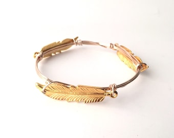 Large Gold Feather Wire Wrapped Bangle Bracelet
