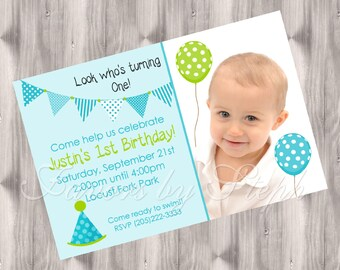 Balloons and Banners Photo Birthday Invitation - DIGITAL