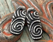 Tribal Spiral Charms - Handcrafted Pewter Artisan Jewelry Components for Earrings, Necklaces and Bracelets