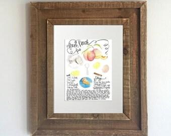 Watercolor Recipe Print: Home Made Peach Pie - Kitchen Decor, Kitchen Artwork, Georgia Peach, Kitchen Prints, Recipe Print, Recipe Art