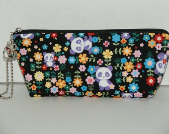 "Padded Zipper Pouch / Pencil Case with Gusset Made with Japanese Cotton Fabric ""Flower Garden - Panda"""