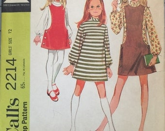 McCall's 2214 Girls' Jumper and Dress Pattern, UNCUT, Size 12, A-Line Dress, Lined Jumper, Retro, Casual Wear, Vintage 1969