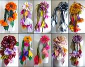 felted wool flower necklace, lariat, belt ,scarf, handmade, felt, lagenlook, MADE TO ORDER, custom made, bespoke, eco friendly