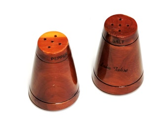 Wood Lake Tahoe Salt and Pepper Shakers, Vintage Souvenir, Wooden Country Mountain Cabin Home Decor, Rustic Kitsch Tableware itsyourcountry