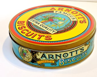 Arnotts Biscuit Tin, Vintage Metal Round Kitchen Storage Container,Reproduction of 1920s Parrot Design,Australiana Home Decor itsyourcountry