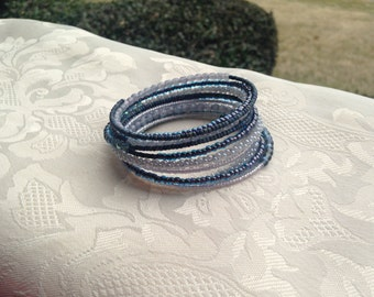 Denim Blue Memory Wire Bracelet Beaded Jewelry
