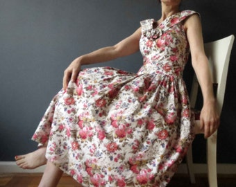 Vintage 80s 50s Rose Floral Cotton  Gathered Skirt Tea Dress Small Mad Men Betty Draper
