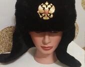 Vintage Unisex Black Dragon Military Style Hunters Hat - Black Faux Fur 1960s
