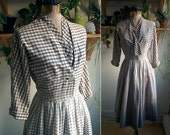 1950s / In the Shadows / Plaid Ombré Day Dress / XS 25 inch waist