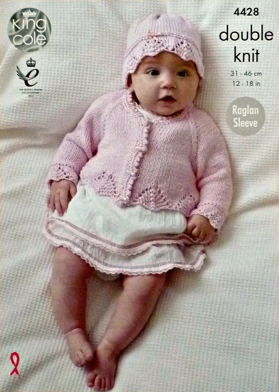 Baby Knitting Pattern K4428 Babies Long Sleeve Lace Edge Cardigan and Lace Ha...