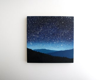 Night Sky Oil Painting - 8 x 8