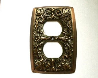 Ornate Metal Electrical Outlet Plate Covers, Copper Hollywood Regency, FREE SHIPPING!