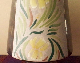 ON SALE HAND Crafted Art Pottery Blackware Vase Cone Shape Footed Hand Painted Floral, Artist Signed Paul Morton 1979