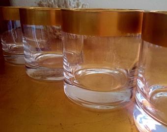 DOROTHY THORPE Gold Barware Glasses Banded Old Fashioned Cocktail Rocks Glass Set of 4