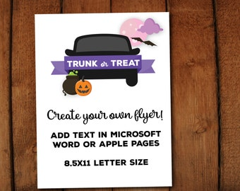 Trunk or Treat Editable Halloween Event Flyer // Printable Microsoft Word file // 8.5x11 // edit in Microsoft word or Apple Pages