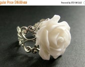 VALENTINE SALE White Rose Ring. White Flower Ring. Filigree Ring. Adjustable Ring. Flower Jewelry. Handmade Jewelry.
