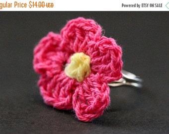 BACK to SCHOOL SALE Fuchsia Crochet Flower Ring. Fuchsia Flower Ring. Knit Flower Ring in Hot Pink and Yellow. Silver Adjustable Ring. Handm
