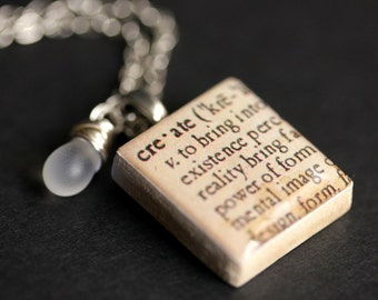 Create Necklace Dictionary Quote Necklace. Scrabble Tile Necklace with Glass Teardrop. Scrabble Pendant. Handmade Jewelry Scrabble Necklace.
