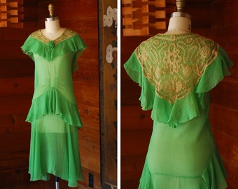 vintage 1920s sheer green silk and lace flapper dress and hat / size xxs xs