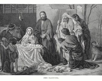 1908 Antique Nativity Print Baby Jesus Mary Joseph Christmas framable Christian art Religious Christ Wisemen Shepherds