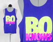 "Vintage Retro Blue Nike ""Bo Knows"" Tank Top"