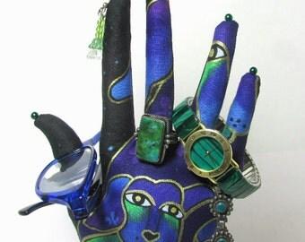 Laurel Burch Dogs n Doggies Fabric Hand Jewelry Organizer POPULAR Style HAND-Stand