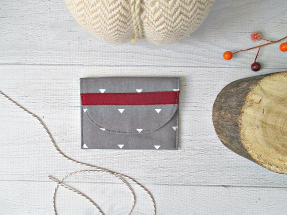 Memory Card Wallet. Gray and Maroon Memory Card Case. Gray Fabric Business Card Case. Coin Purse. Gifts Under 10. Gift Card Holder.
