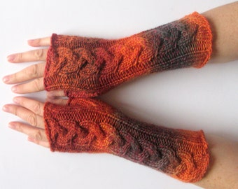 Fingerless Gloves Wrist Warmers Mittens Red Orange Brown Burgundy Knit