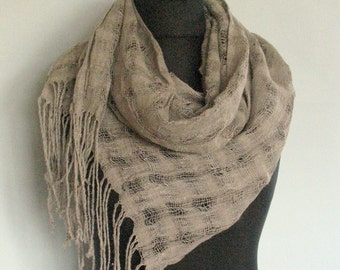 Natural Linen Scarf Striped Unisex Gray Washed Shawl