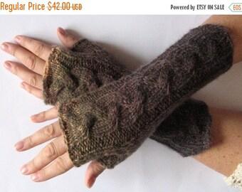 Fingerless Gloves Green Brown wrist warmers