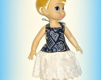 "Navy Blue Bandana Print Halter Dress for 16"" Disney Animator Dolls, Handmade Doll Clothes by traveller240, ""Boardwalk Boutique"""