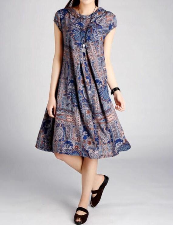 Women summer Cotton printed long big swing dress