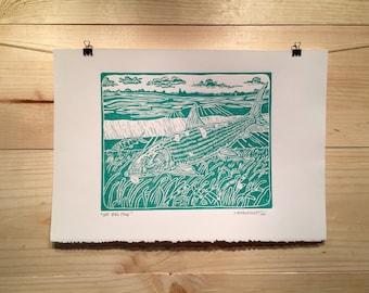 "fly fishing artwork of Jonathan Marquardt ""Off Big Pine"" bonefish linocut print"