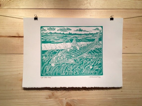 "fly fishing artwork of Jonathan Marquardt ""Off Big Pine"" bonefish linocut print"