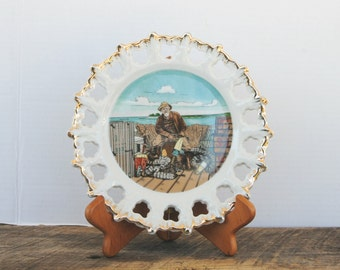 Vintage Fisherman Scene Plate Ceramic Collectible Nanco Product Made in Japan