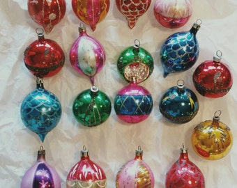 Vintage Christmas Glass Ornaments Teardrop Oval Poland Set of 18