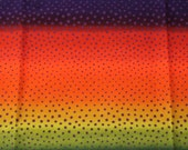 "Laurel Burch Fabric Rare Bold RAINBOW STRIPE with Purple Dots - OOP 2004 ""Holiday Collection"""