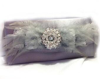 wedding clutch, Bridal clutch, feather evening bag, Silver clutch,Vintage inspired pearl clutch, Bridal evening bag