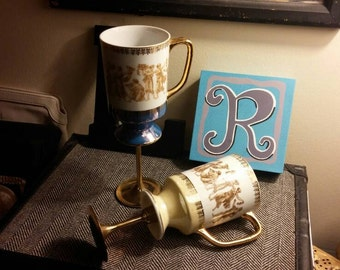 Wedding Table Centerpiece, Candle Holder, Greek Design Mugs, Coffee Mugs, Coffee Cups, Upcycled Cups, Repurposed Arnart Smug Mugs, Cups