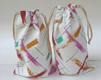 Multi Color Paint Strokes Drawstring Fabric Gift Bag Set of Two Upcycled, Reusable, Birthday Gift