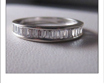 Vintage 14k Baguette Diamond Wedding Band