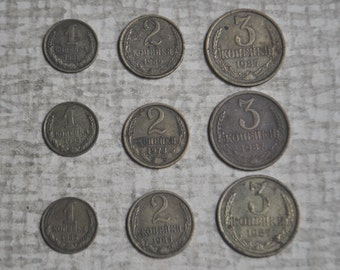 Vintage Soviet Russian coins 1-2-3 kopeck.Set of 9.